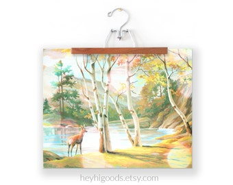 Vintage Paint by Number, Doe in Birch Trees, Deer by River, Mountain, Print Your Own, Instant Art, Digital Download, Print up to 16x20