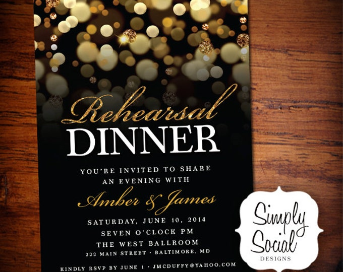 Rehearsal Dinner Party Invitation with Gold Glitter Bokeh PRINTABLE