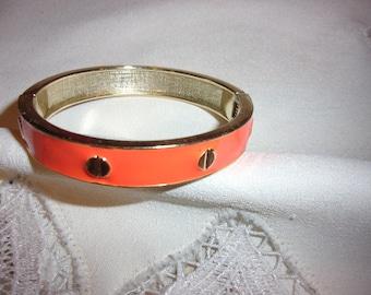 vintage orange enamel clamper bangle bracelet, vintage bracelet