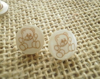 Set of 4 round buttons, Pearl White, Brown Teddy bear pattern, diameter 11 mm