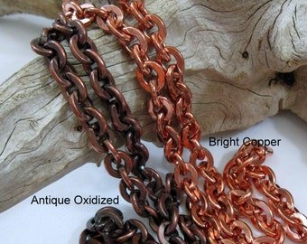 COPPER HEAVY CABLE Chain,  Hand Oxidized or Raw Copper, 11 x 8.7mm, Bulk Chain, 6 to 36 inches