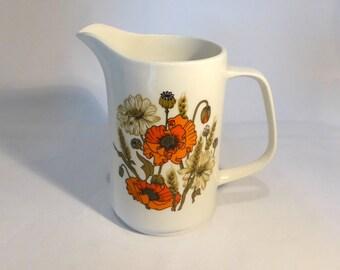 """Meakin Studio Line water jug in """"Poppies"""" design - original from the 1970s"""
