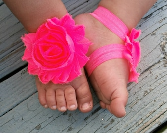 You choose colors Baby Barefoot Sandals Baby Sandals Shabby Rose Sandals Photo Prop Sandals Newborn 1st birthday
