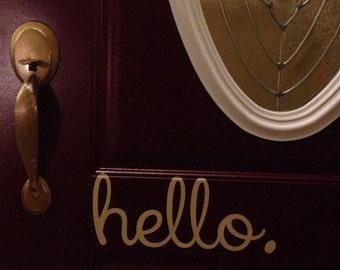 Hello Front Door Entry 12x5 Sign Vinyl Wall Decal Sticker