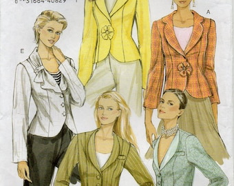 Lined Above Hip Jacket Princess Seams Collar Variations Two Piece Sleeves Shoulder Pads Size 12 14 16 Sewing Pattern Vogue 8260 Plus Size