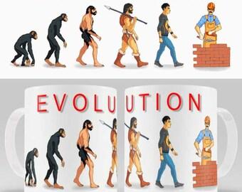 Funny novelty coffee mug EVOLUTION of BUILDER, gift for him or her