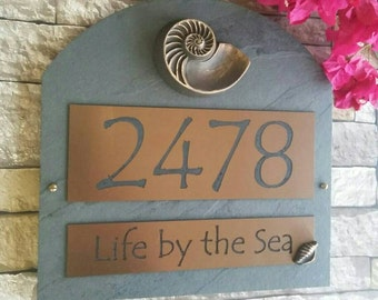 Beach House Address Sign Nautilus Shell House Numbers