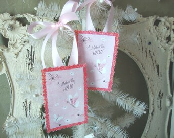 Gift tags for Mothers Day vintage card scrap pink and white butterflies tags pink glittered gift for Mom package ties wrap embellishments