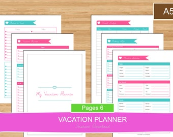 A5 Vacation or Travel Planner Set, A5 planner set, Vacation travel PDF Planner Pages, vacation planning set, Holiday, Instant Download