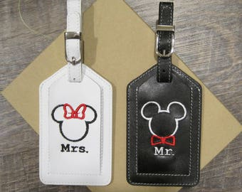 Mr. & Mrs. Set of Two Leather Luggage Tags, Custom Embroidered w/ Mouse Designs and Gift Box; Fun for Travel