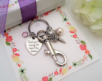 Mother of Groom Gift Mother In Law Gift from Bride Thank you for Raising the Man of my Dreams Key chain Mother of the Groom Gift from Bride