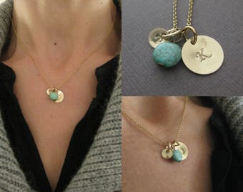 Large and small Gold initial charm necklace with turquoise bead and Gold Filled chain, custom initials, 1 per charm