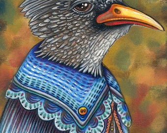 "Weisner - A Whimsical 8 x 10"" ART PRINT of a Black Chinned Yuhina in a fantastic stylish blue cloak perfect for lovers of quirky characters"