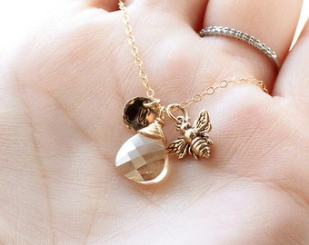 Golden Honey Bee Necklace, Gold Initial Necklace, Swarovski Crystal, Personalized Necklace, Mother's Necklace, Gold Filled, Dainty Jewelry