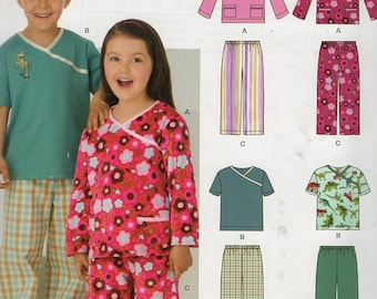 New Look 6090 Kids Sewing Pattern Free Us Ship Girl's Kimono PJ's Pajamas Scrubs Top Pants Size 3 4 5 6 7 8 Out of Print