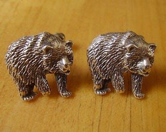Sterling Silver Bear Cufflinks