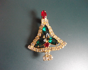 Vintage Clear, Red and Green Glass Rhinestone Christmas Tree Brooch Pin