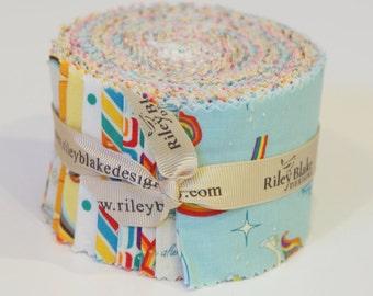 Jelly Roll strips  (21)  Unicorn Rainbow by Doohickey for Riley Blake