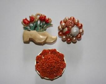 Vintage Reclaimed Jewel Fridge Magnets Set of 3 Orange Tones