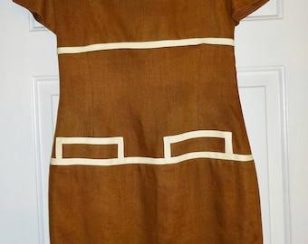 Vintage Dress Brown Linen Gillian Size 6 Fully Lined