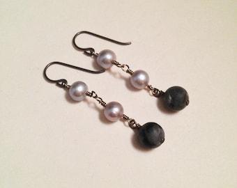 The Moon Matte Black Labradorite Freshwater Pearl Niobium Earrings | Handmade Witch Earrings | Minimalist Avant Garde Black White Tarot
