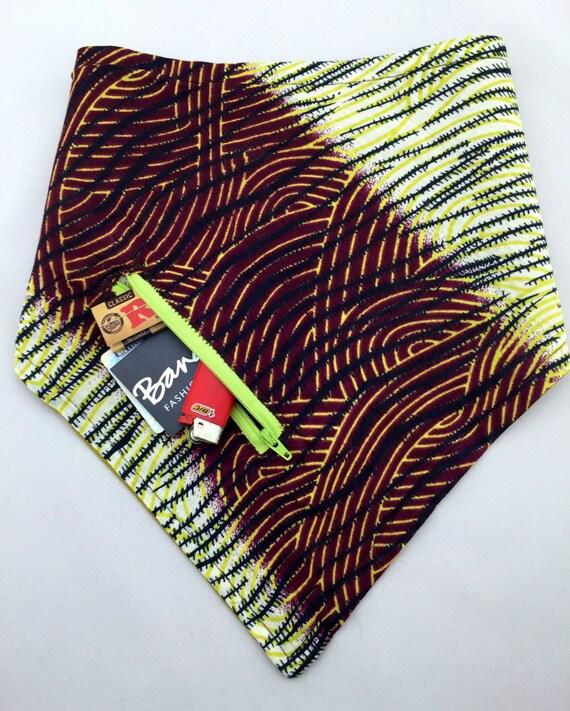 The Traveler: Crosshatch print in lime, brown, yellow on lightweight cotton & Spring Green Linen Reversible Bandana w/ Zippered Stash Pocket
