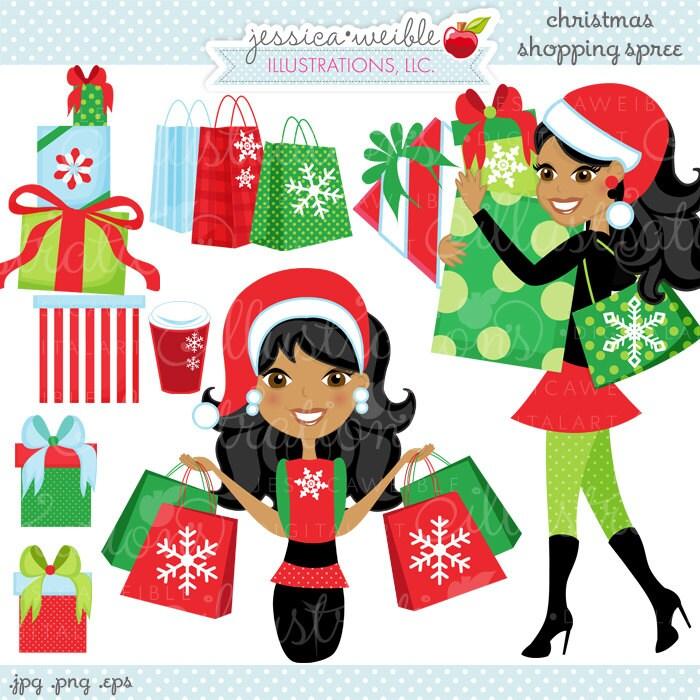 christmas shopping spree dark cute digital clipart commercial rh etsy com christmas shopping clipart images christmas shopping bag clipart