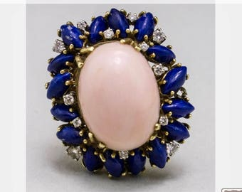 Coral and lapis lazuli ring