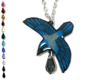 Scrub Jay Necklace   Bird Necklace   Handmade Jewelry   Jay Jewelry   Jay Necklace   Birding Gift