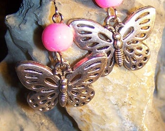 Earrings Butterfly & pink glass beads