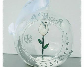 Memorial tree bauble, rememberance tree decoration, bereavement Christmas tree, personalised handmade glass bauble, white rose glass bauble