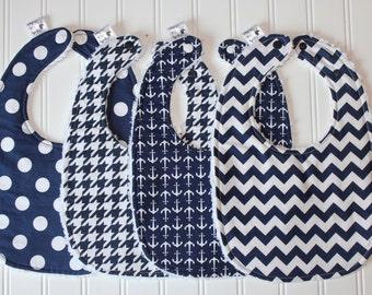 Navy Baby Bib - Baby Boy Toddler Bib - Boutique Quality Chenille Bib, Adjustable Size from Infant to Toddler, Houndstooth, Nautical, Chevron