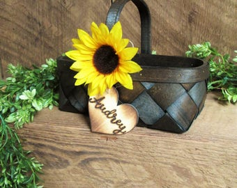 Sunflower wedding decor, rustic flower girl basket, shabby chic flower girl basket, farm country wedding, barn wedding, personalized basket