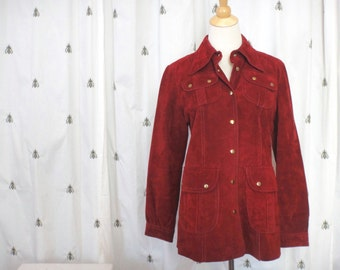 Vintage Women's Brick Red Suede Leather Jacket, Suede Shirt, Size Medium Large, Dawn, Snaps, Boho