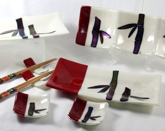 Fused Glass Sushi Set (For Two)- Bamboo (Made to Order)