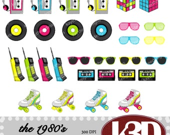 1980s, Eighties, cassette tape, roller skates, mix tape, clipart clip art instant digital download. 30 digital images, graphics