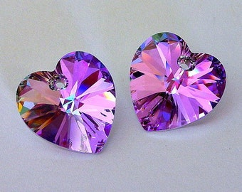 2 Vitrail Light Swarovski heart pendants, 14mm Vitrail Light crystal hearts, Mother's Day lavender heart pendants