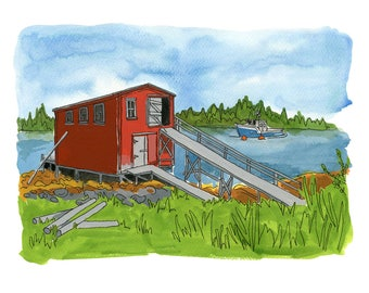 "Lahave Islands - Limited Edition Print of a Watercolour and Ink original -  8"" x 10"", Nova Scotia Fishing Shack, Nautical Decor, Wall Art"