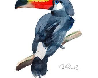 "Toucan Giclee Print, 9x12"" Watercolors Bird Art Prints Tropical Art Bird Painting Colorful Art Botanical Art modern Art Contemporary Art"