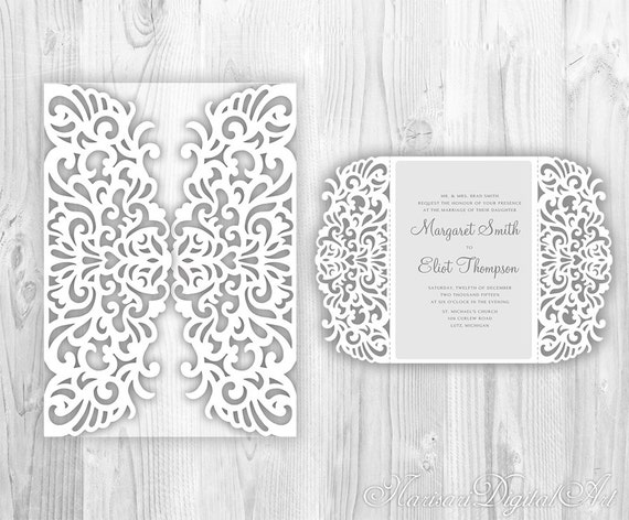 intricate wedding invitation laser cut pattern card template. Black Bedroom Furniture Sets. Home Design Ideas