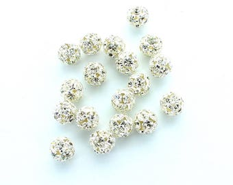 Rhinestone balls 6mm, 10mm in silver plated  Made by Preciosa.  Price is for 8 balls.
