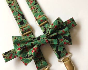 Christmas Bow tie and suspender, Christmas Holly suspenders and bow Tie, Holly Bow tie and suspenders