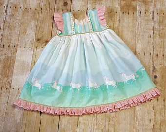 Magic Unicorn Girl Toddler Boutique dress, Available in sizes 12 months to 8 girls