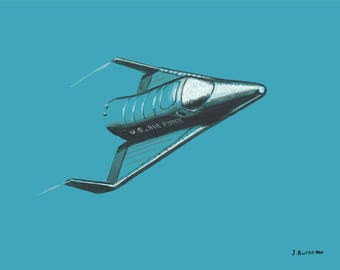 NASA 1960 Concept Art X-20 DYNA SOAR Re-Entry Vehicle Space Shuttle Aerospace Space Flight Limited Edition Fine Art Print Poster 11 x 14