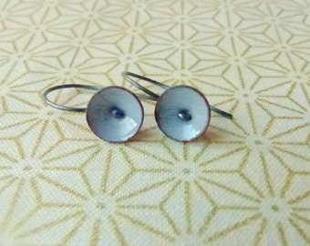 tiny poppy earrings torch fired enamel steel gray oxidized sterling silver dangle earrings