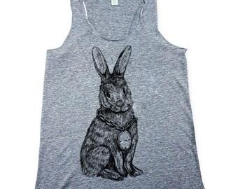 Shirt - Rabbit Tank Top - Bunny Shirt - Heather Grey - Womens Tank Top - Small, Medium, Large, XL