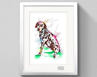 A4 Dalmatian Watercolour Print