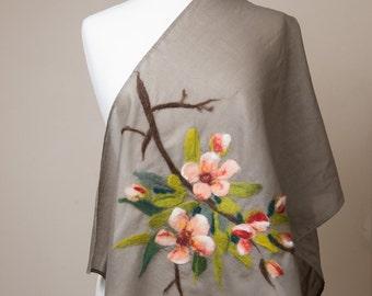 Sale 40% Off Nuno felted scarf, Cotton scarf, apple blosom, cherry blosom,khaki, peach, pink, orange, brown green leaves