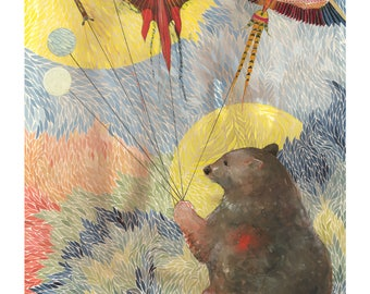 Bear Thinks Thoughts While Kites Fly Gift Card with Envelope - Bear - Chinese Kites - Multicolor - Thinking of You