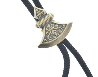 Western Bolo Tie, axe head charm , antique brass  bolo charm made in USA